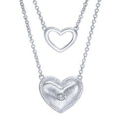 925 Silver Diamond Double Heart Necklace NK3708SV5JJ