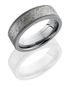Meteorite Inlaid Titanium Ring with Sandblast Finish
