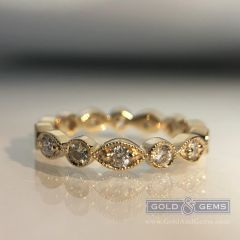 Divinity C&R Diamond Stacker - 14k Yellow Gold