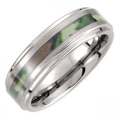 Tungsten Ridged Wedding Ring with Woodland Camo Inlay