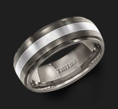 Titanium with Silver Inlay Step Edge Comfort Fit Band 11-2100T