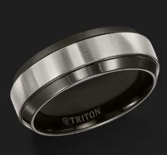 Black Titanium Comfort Fit Ring with Beveled Edge 11-2993BT