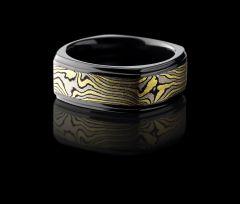 Black Zirconium Mokume Gane Inlaid Men's Wedding Band