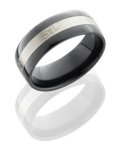 Black Zirconium / Silver Inlay Hammered Band