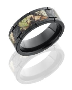Camo Inlaid Zirconium Wedding Band for Him or Her